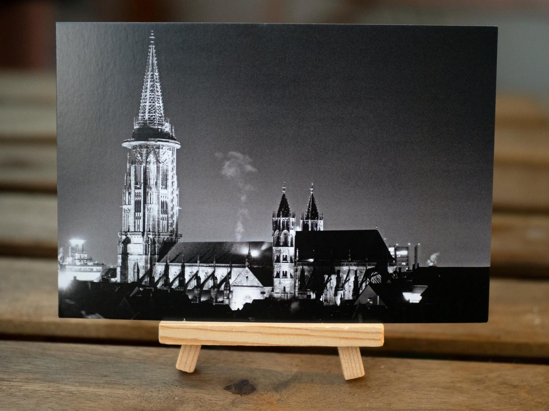 Ansichtskarte - Freiburger Münster bei Nacht              (Postkarten-Freiburg.de)